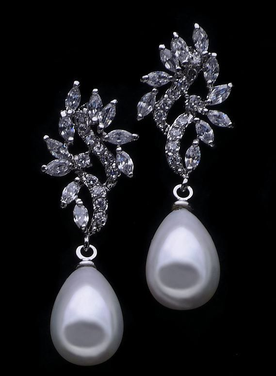 Lana Bridal Earrings – Roman & French - Leader in Bridal Jewellery, Wedding Hair Accessories, Bridesmaids Dresses and Wedding Gifts.