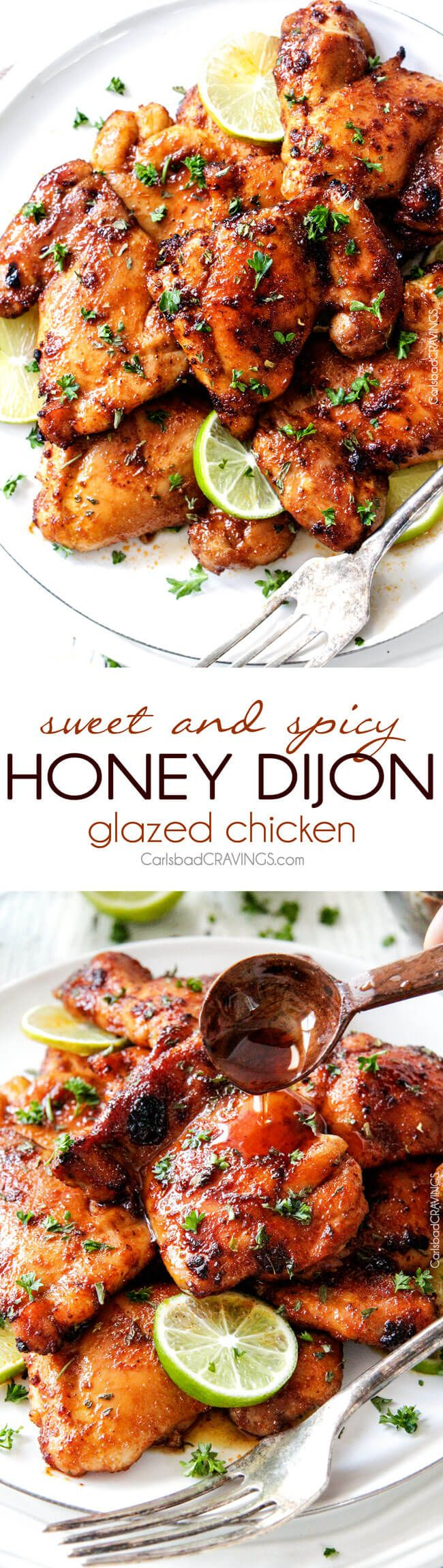 Sweet, Spicy and Tangy Honey Dijon Glazed Chicken is quick and easy and packed with flavor! The chicken thighs are rubbed in spices, cooked under the broiler for 10 minutes and glazed with the most incredible sauce! via @carlsbadcraving