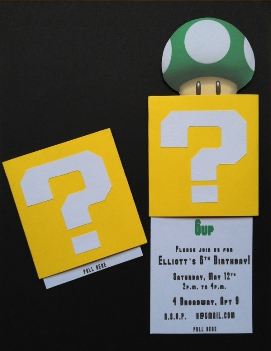 """** Mario Invitation - click on the words """"this tutorial"""" for instructions on creating a double slider card."""