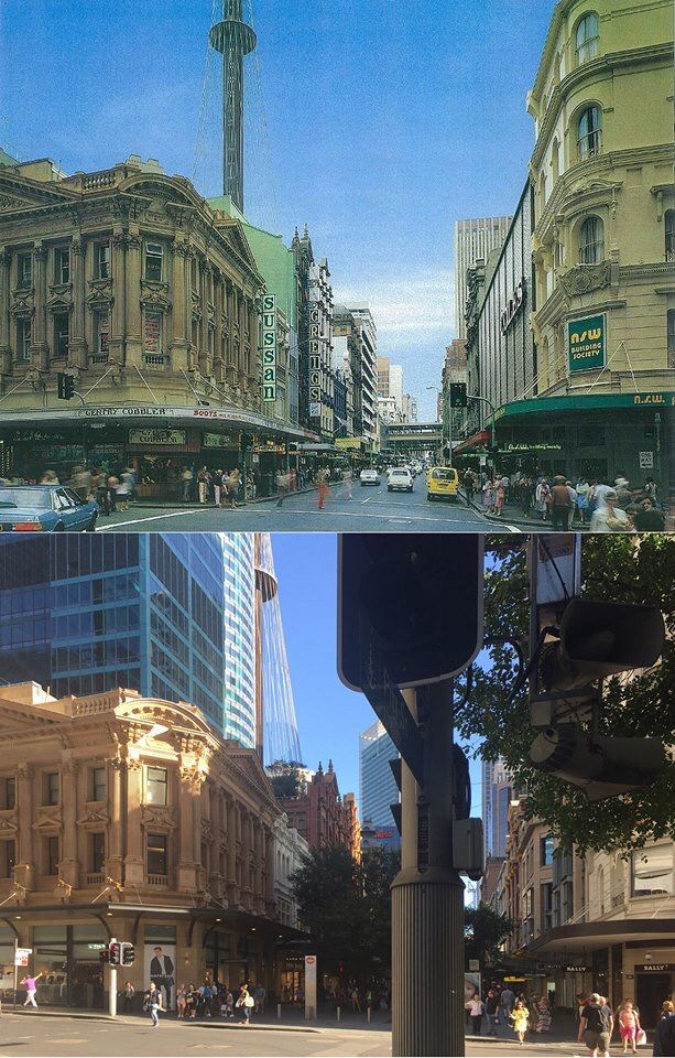 King and Pitt Sts, Sydney in c1980 and in 2016. [c1980 - from the book Sydney Then and Now>2016 - Jojo Navarro. By Jojo Navarro]