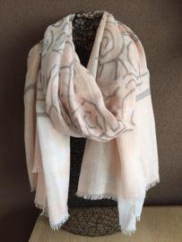 Zalm roze sjaal met leuke figuren
