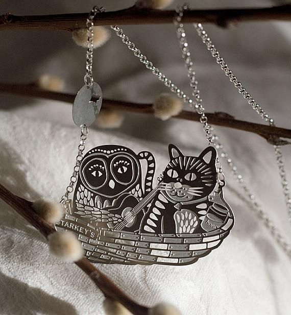 Owl and Pussycat Stainless Steel Pendant | indie art & design