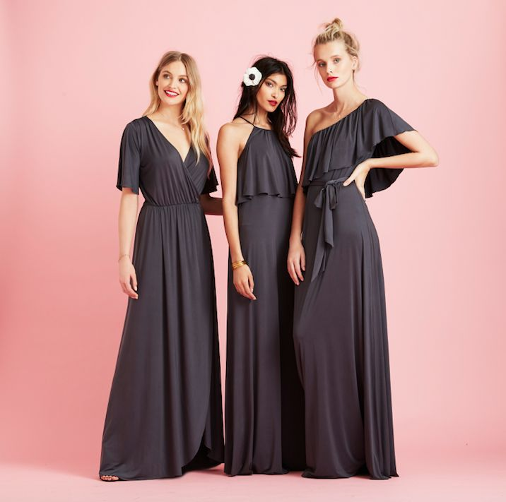 Lucy, Zoe & Maya | New Pewter Grey bridesmaid dresses from the twobirds Party Collection |