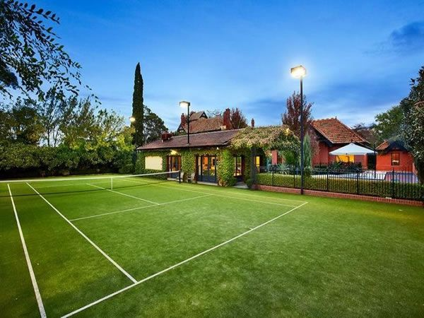 20 Of The Most Enticing Home Tennis Courts Private Tennis Court Tennis Court Design Tennis Court