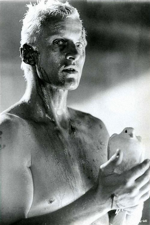 "Roy Batty ""Blade Runner"", 1982.(Rutger Hauer): ""I've seen things you people wouldn't believe. Attack ships on fire off the shoulder of Orion. I watched c-beams glitter in the dark near the Tannhäuser Gate. All those moments will be lost in time, like tears in rain. Time to die."""