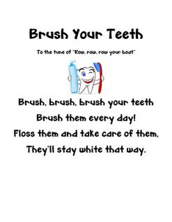 taking care of teeth song, math problems, tooth fairy letter, and  how-to brush your teeth writing