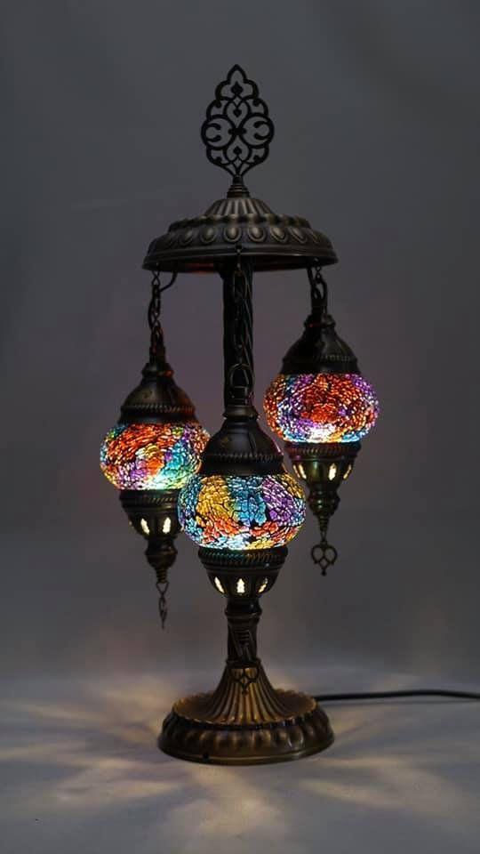 3 Globe Mosaic Table Lamp Handmade, Turkish Mosaic Chandelier India