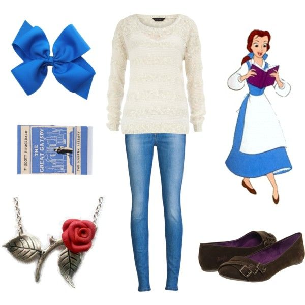 Casual Princesses - Belle disney princess inspired fashion beauty and the beast...i need a blue ribbon....^_^
