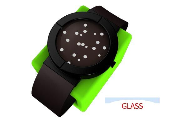 TIWE by Lv Zhongfang is an OLED watch. The white dots scatter randomly. When you want to know the time, move your arm.: Ole Watches Th, Tiw Ole, Round Dots, Pretty Sweet, Glasses Surface, Dots Scatter, Dots Random, The Dots, Awesome Watches