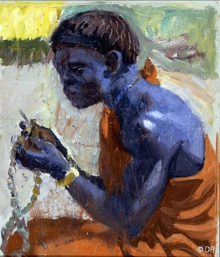 Gallen-Kallela, Akseli (1865-1931) 1909-10 Kikuyu Blue (Private Collection)  Oil on canvas; 47 x 40 cm.