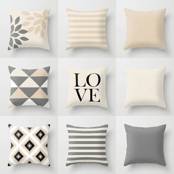 Throw Pillow Designs in neutral shades of Grey, Light Beige, Sand, Black, and White.  Individually cut and sewn, features a 2 sided print and is finished with a zipper for ease of care. SIZES: 16in. X 16in. 18in. X 18in. 20in. X 20in. 26in. X 26in. (euro) 14in. X 20in. (lumbar)   IMPORTANT: These are COVERS ONLY! You can cover your existing pillows or purchase inserts online or at any local craft store.   FABRIC: Spun Poly Poplin. Medium weight high quality fabric that is durable and…