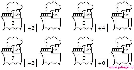 * Bootsommen! Verschillende categorieën. Ieder document bevat 8 werkbladen met sommen erbij en eraf!