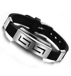 Lite enklare armband i rostfritt stål / gummi med enkel knäppning - Gothic Impulse