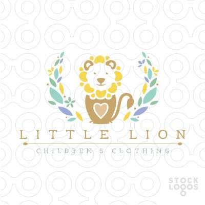 Logo for sale: Cute adorable baby lion with a heart placed in the centre of the baby lion. A leave wreath design completes this beautiful child theme logo. The head of the lion is designed to look like a blooming flower.