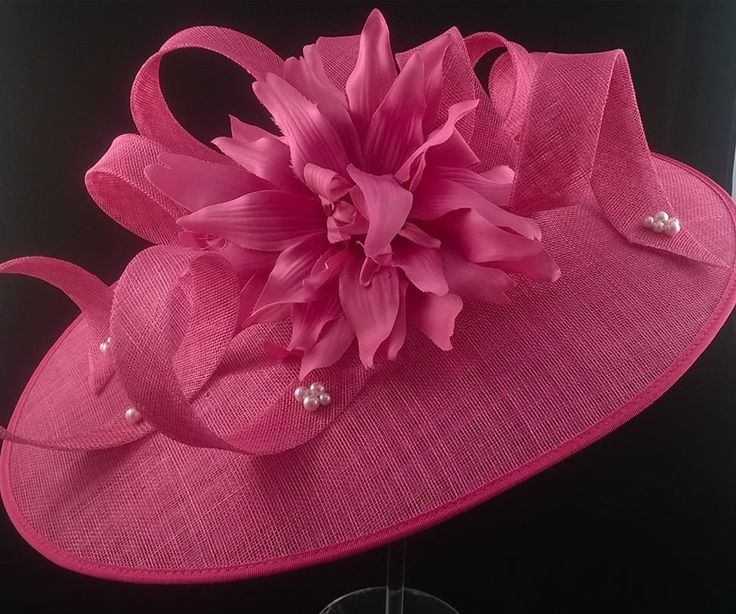 Extra large raspberry oval headpiece with pearl detail and sinamay loops