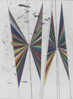 MARK GROTJAHN- Untitled (Coloured Butterfly White Background Four Wings)