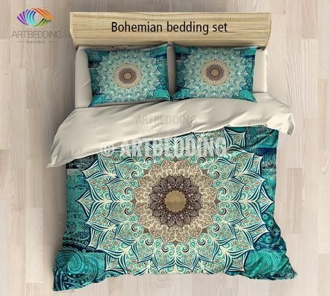 This bedding set is nothing less than extraodinary. What catches your eye is this beautiful multilayer Lotus flower mandala in purple and green. This design is the perfect combination between traditional mandala art design and modern digitally generated galaxy background that is so beautiful by itself. This design is a real compliment to your interior. 3-piece DUVET COVER SETIncludes: 1 duvet cover / NO duvet insert/ and a set of 2 pillow coversOur Reversible down Duvet Cover set beautifully…