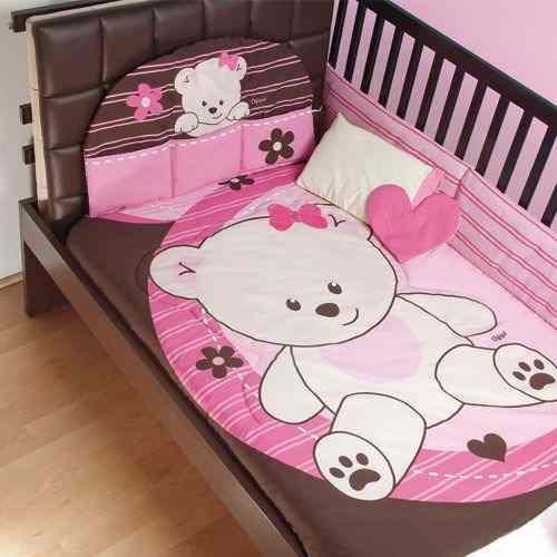 set de edredon para cuna de bebe baby pink osita rosa
