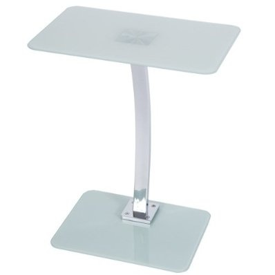 Levv Square Glass Laptop Table with Chrome Leg - Frosted £49.99