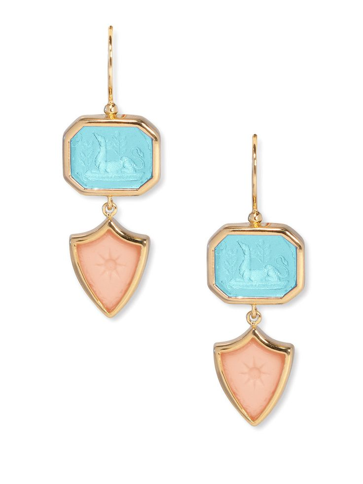 Turquoise & Pink Coral Octavia Earrings by Eddera at Gilt