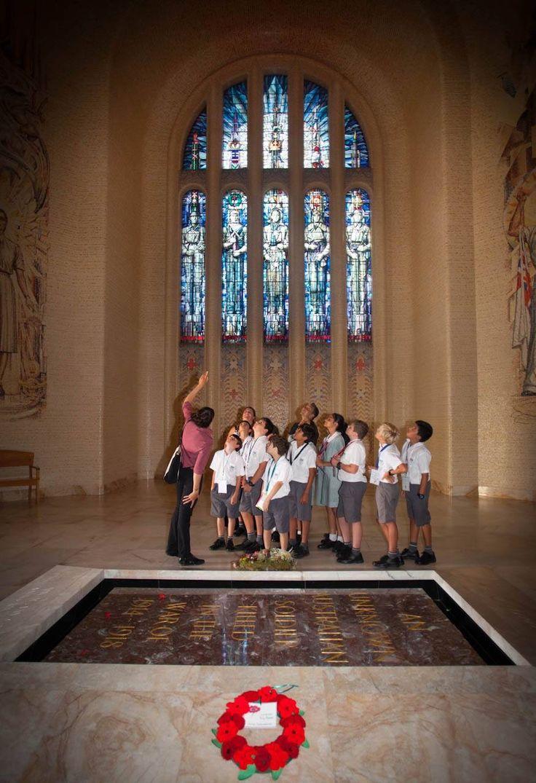 The Australian War Memorial Canberra. School children on an education tour.