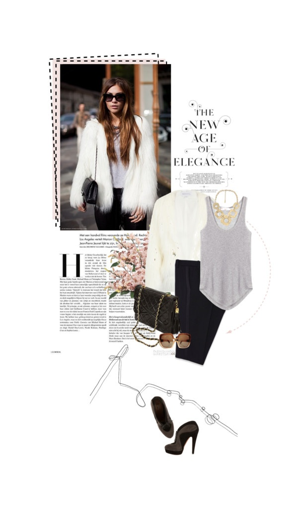 """white fur jacket"" by summerbreeze85 ❤ liked on Polyvore"