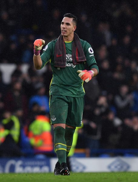 Goalkeeper Joel Robles of Everton celebrates following his team's 4-0 victory during the Premier League match between Everton and Manchester City at Goodison Park on January 15, 2017 in Liverpool, England.