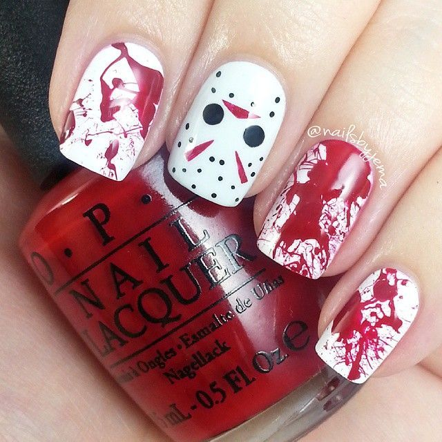 Jason Voorhees and blood splatter nails! I love the blood splatter on it's own for halloween but Jason adds a little something extra. Tutorials will be up later today :) Polishes used: OPI 'Alpine Snow', 'My Boyfriend Scales Walls', 'Cinnamon Sweet' & a black gel pen.
