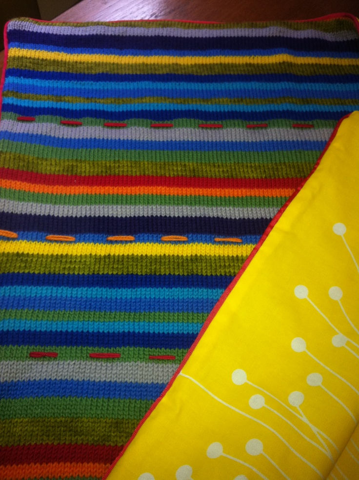 Bright striped baby rug