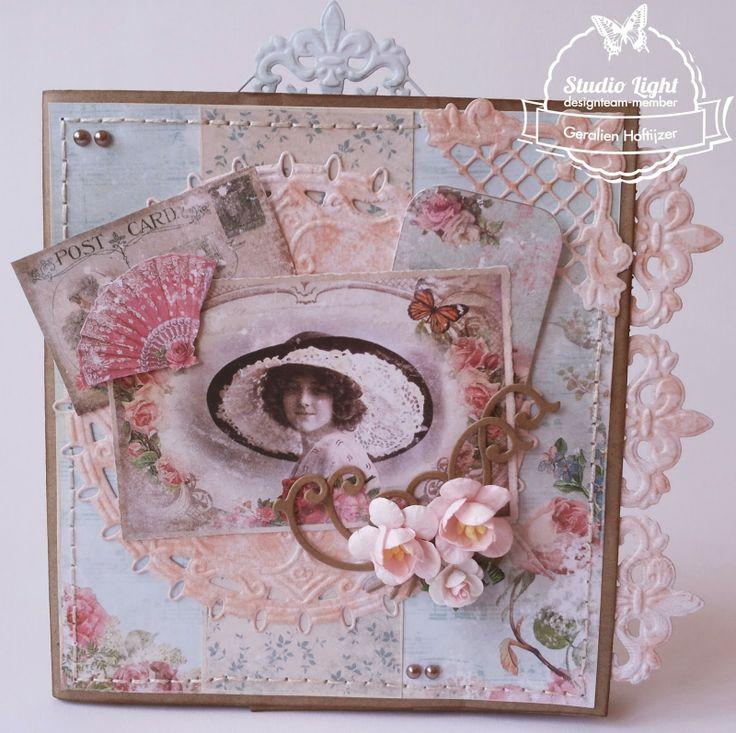 Papieren bruine zak met Shabby Chic gemaakt door Geralien Hoftijzer