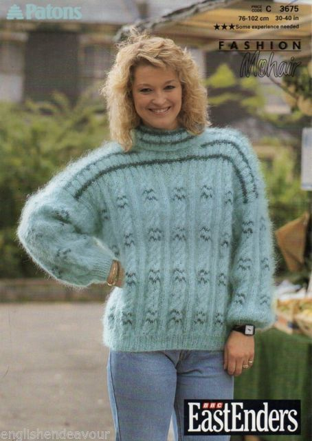 Knitting Patterns For Mohair Sweaters : Patons #3675 Mohair Cable Sweater 30-40