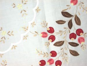 Appliqué Cherries -Fine Organdy Tablecloth #linen #table #cherries #holidays #christmas #gifts #homedecor #red #diy #lace #linens