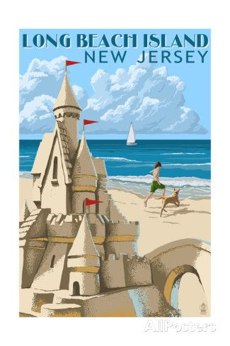 Long Beach Island, New Jersey - Sandcastle Prints by Lantern Press at AllPosters.com