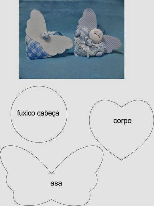 ARTE COM QUIANE - Paps,Moldes,E.V.A,Feltro,Costuras,Fofuchas 3D: molde fuxico anjo