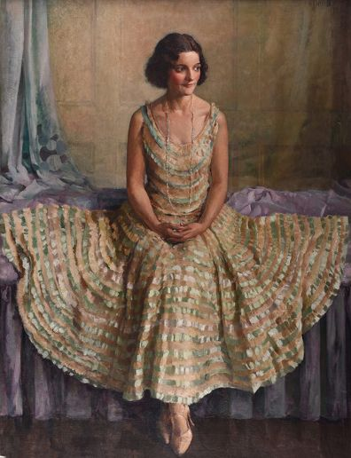 #Phyllis #Dodd 'Olga in her flounced dress', 1930  Framed, Signed and dated #Oilpainting #portrait #art #modernart #phyllisdodd #fashioninart #fashion #dress #Britishart #llfa #fashion #drapery