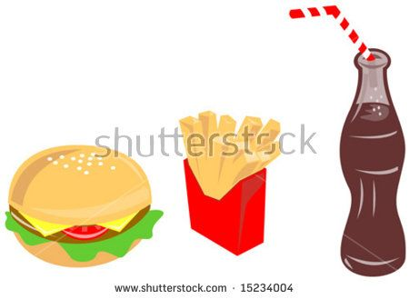 Burger, fries and drink  #burger #retro #illustration