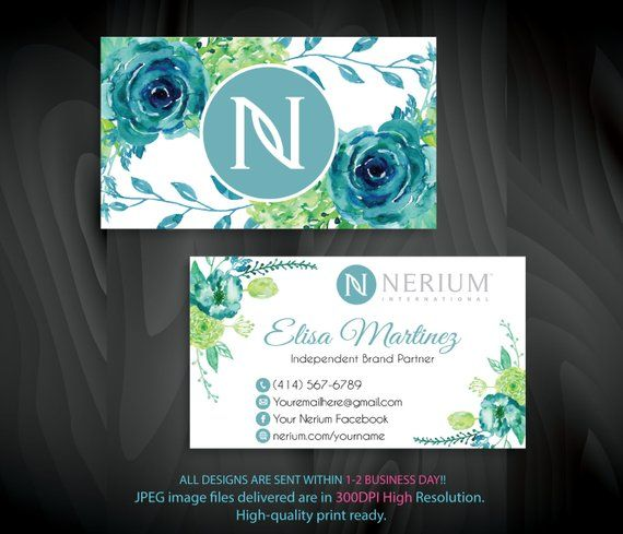 Personalized Nerium Business Cards Nerium Marketing Card Nerium Leaf Card Printable File Custom Busin Printable Cards Flower Business Custom Business Cards