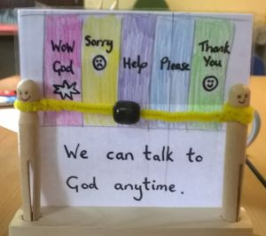 """""""We can talk to God anytime"""" prayer craft idea -- slide the bead along the chart. Remind the kids to pray like Nehemiah did."""