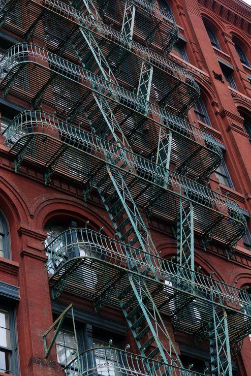 Fire escape - cast-iron building - New York