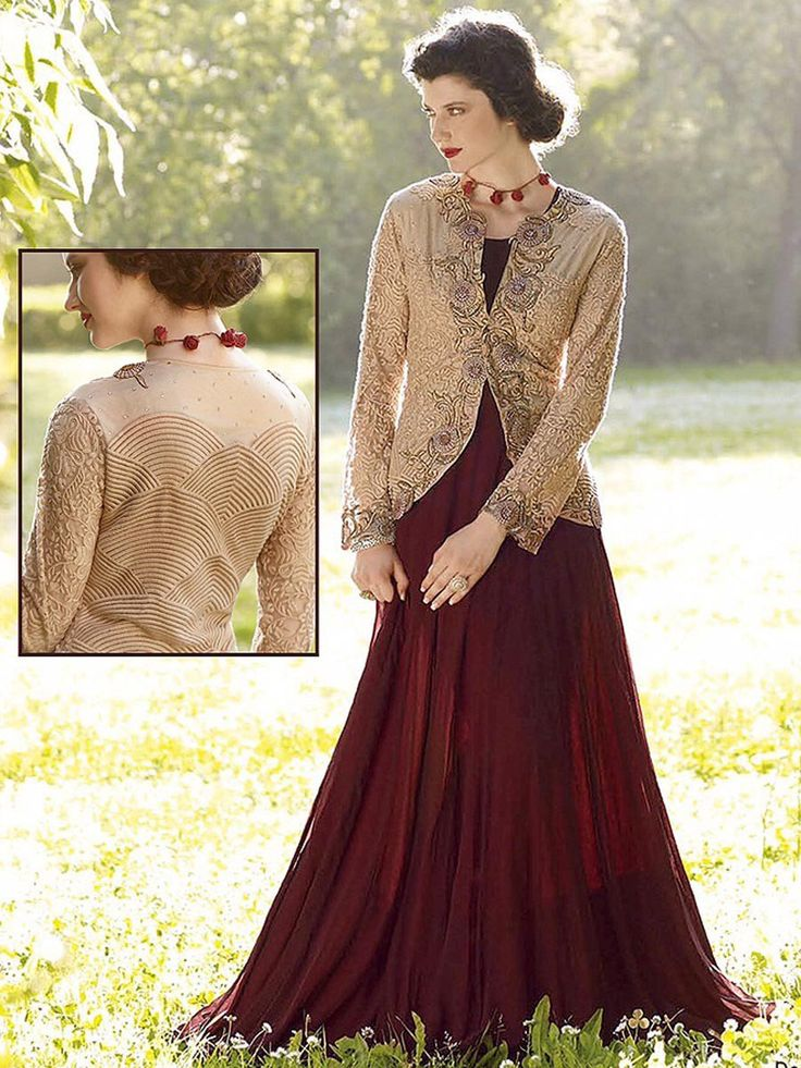 Divergent coffee brown color #Georgette #Gown with beige color jacket is garnished with resham, sequins, zari, kundan work. Item Code: GKDE3509 http://www.bharatplaza.com/new-arrivals/gowns.html