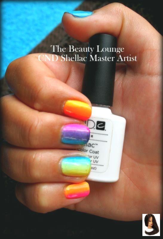 CND Shellac Rainbow Nägel! Neon! orange, blau, grün und lila. #cndshellac #na