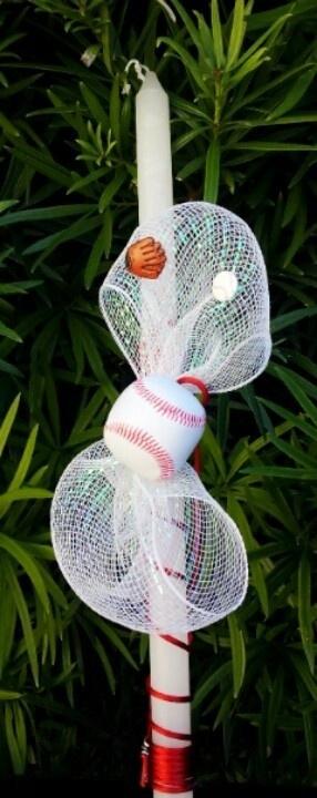 Baseball Easter Candle, $25.00 at Greek Wedding Shop ~ http://www.greekweddingshop.com