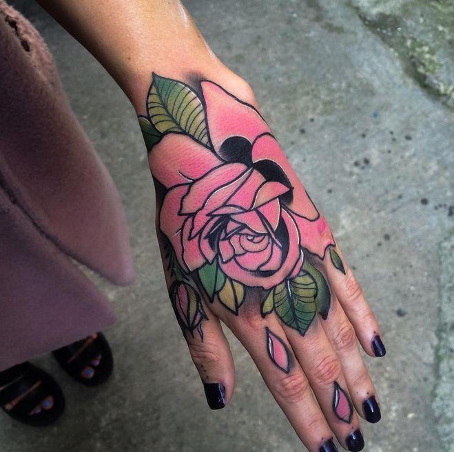 Pink Rose On Hand By Matt Webb