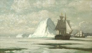 Schooners and Icebergs, Labrador, William Bradford, not dated, oil on canvas, 11 3/4 in. x 20 in. Currier Museum of Art.