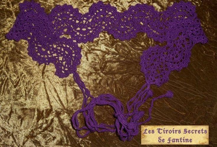 Ceinture crochetée éventail violette 100% coton : Ceinture par les-tiroirs-secrets-de-fantine