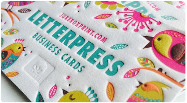 Letterpress Business Cards from Jukebox Print - Cotton Letterpress Business Cards