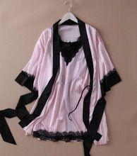 Macio de alta qualidade rendas de seda sexy camisola de verão camisola ocasional rosa sleepwear Estilingue Lingerie vestido set robe(China (Mainland))