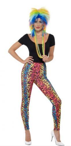 Kleding luipaard print motief bij warenhuis Trendmax, Neon legging met luipaard print,80,back,disco,eighties,foute,jaren,legging,leggings,leopard,luipaard