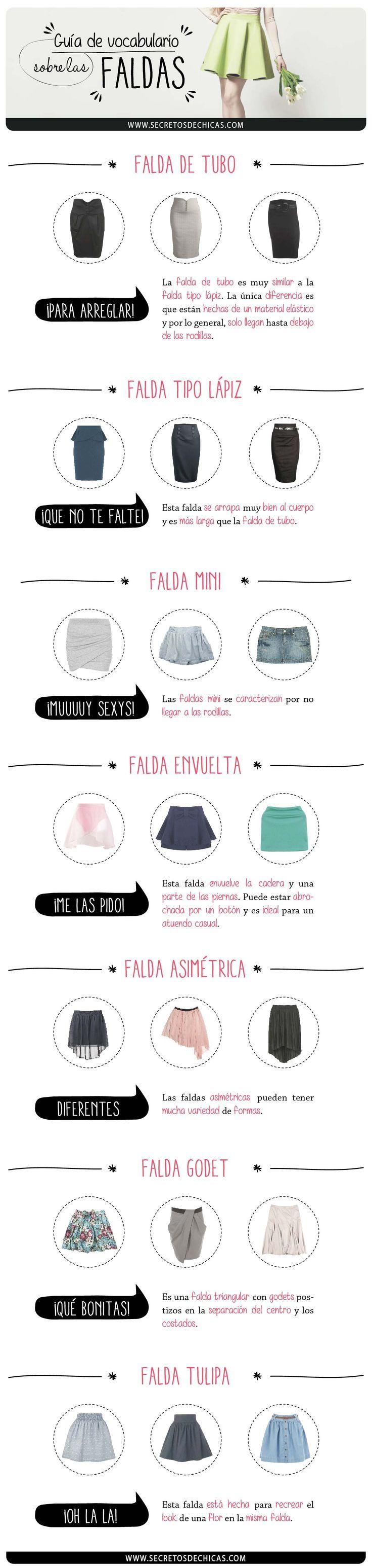 Guía de vocabulario sobre las faldas parte II