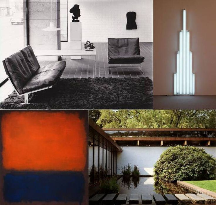 Fabricius & Kastholm and their contemporaries: bo-562 sofa, bo-561 chair and bo-551 table by Fabricius & Kastholm - 1963, 'monument 1' by Dan Flavin - 1964, 'No. 14' by Mark Rothko - 1960, Louisiana Museum of Modern Art by Vilhelm Wohlert - 1958/1971.